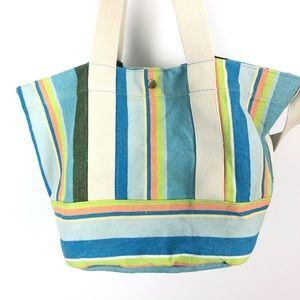 COLDWATER CREEK Striped Canvas Tote Bag